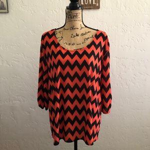 Star Vixen orange & black blouse, size 2X
